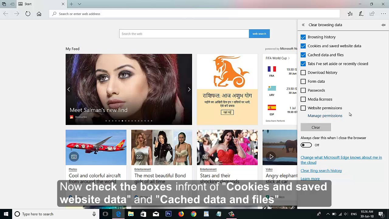 Clear Cache and Cookies in Microsoft Edge Browser