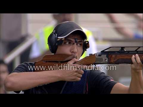 Men's singles Double Trap shooting event at Karni Singh range in Delhi