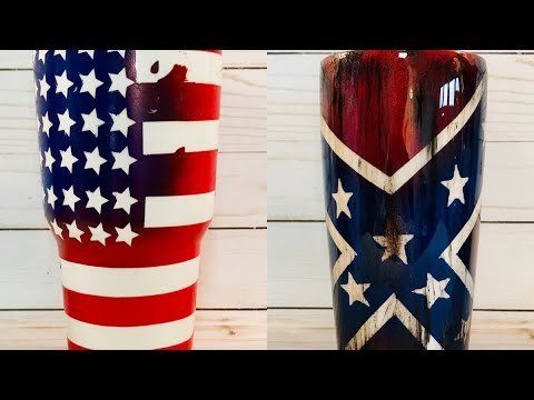 Distressed Flag Tumbler NO VINYL stencil and paint only!