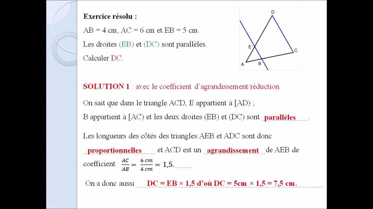 4eme proportionnalité dans le triangle exercice résolu ...