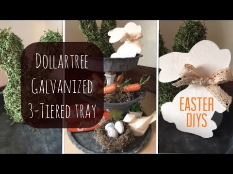 Dollartree Easter DIY- Farmhouse Galvanized 3-Tiered Tray