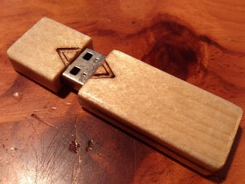 Homemade flash drive case out of wood.
