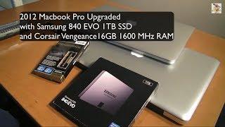 2012 Macbook Pro Upgrade Single Samsung 840 EVO + 1 TB SSD 16 GB RAM Upgrade