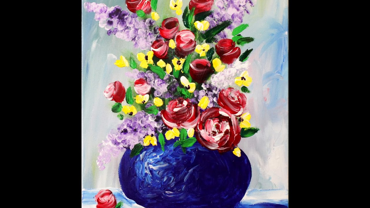 YouTube & Spring Flowers in a Vase Step by Step Acrylic Painting on Canvas for Beginners