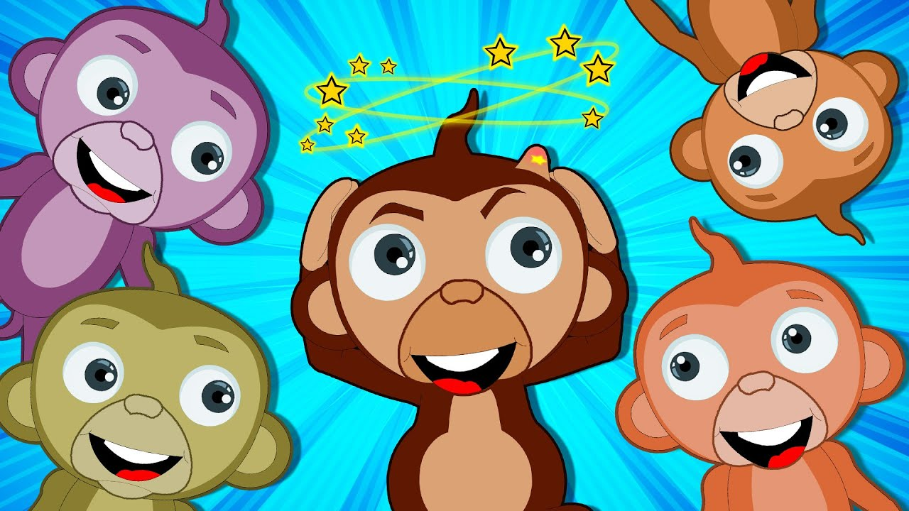 Cinque scimmiette che saltano sul letto | HooplaKidz Italiano | simpatiche filastrocche italiane