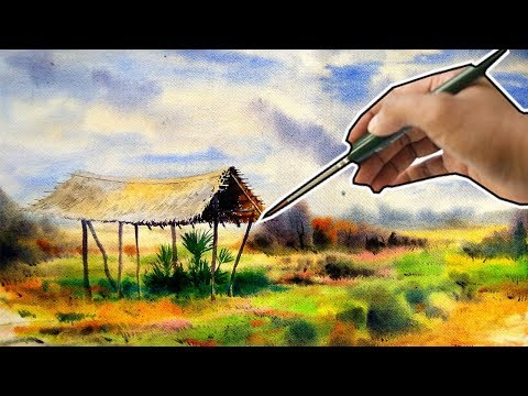 Wet in wet technique watercolor: how to paint loose technique landscape with Watercolor