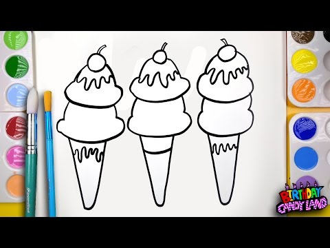 Thumbnail: How to Draw Fruit Topped Ice Cream Cone Coloring Page Kids to Learn Painting