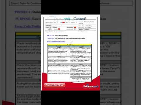 Daikin inveter split ac error code chart troubleshoot faults problem