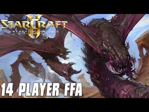 14 Player FFA! ZERG SWARM! - StarCraft 2 Multiplayer Gameplay