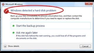 How to fix Windows detected a hard disk problem in windows 7/8/10