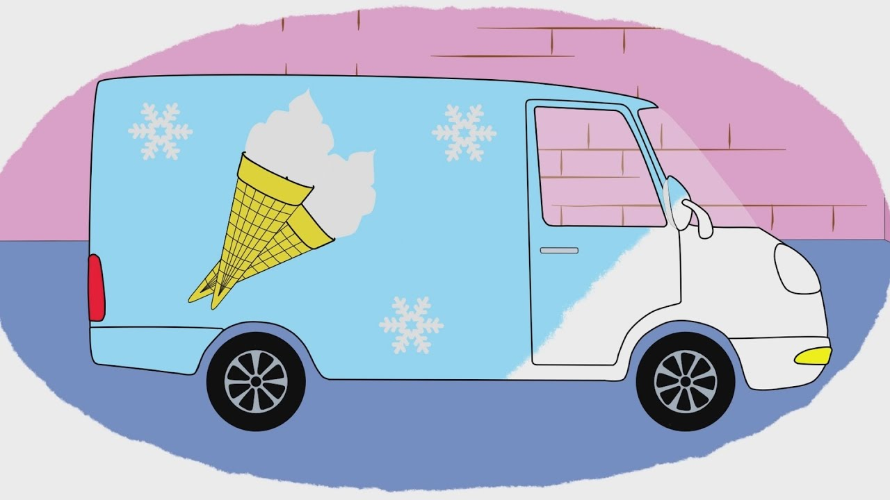 Мультик - Раскраска. Учим Цвета - Как делают мороженое ...