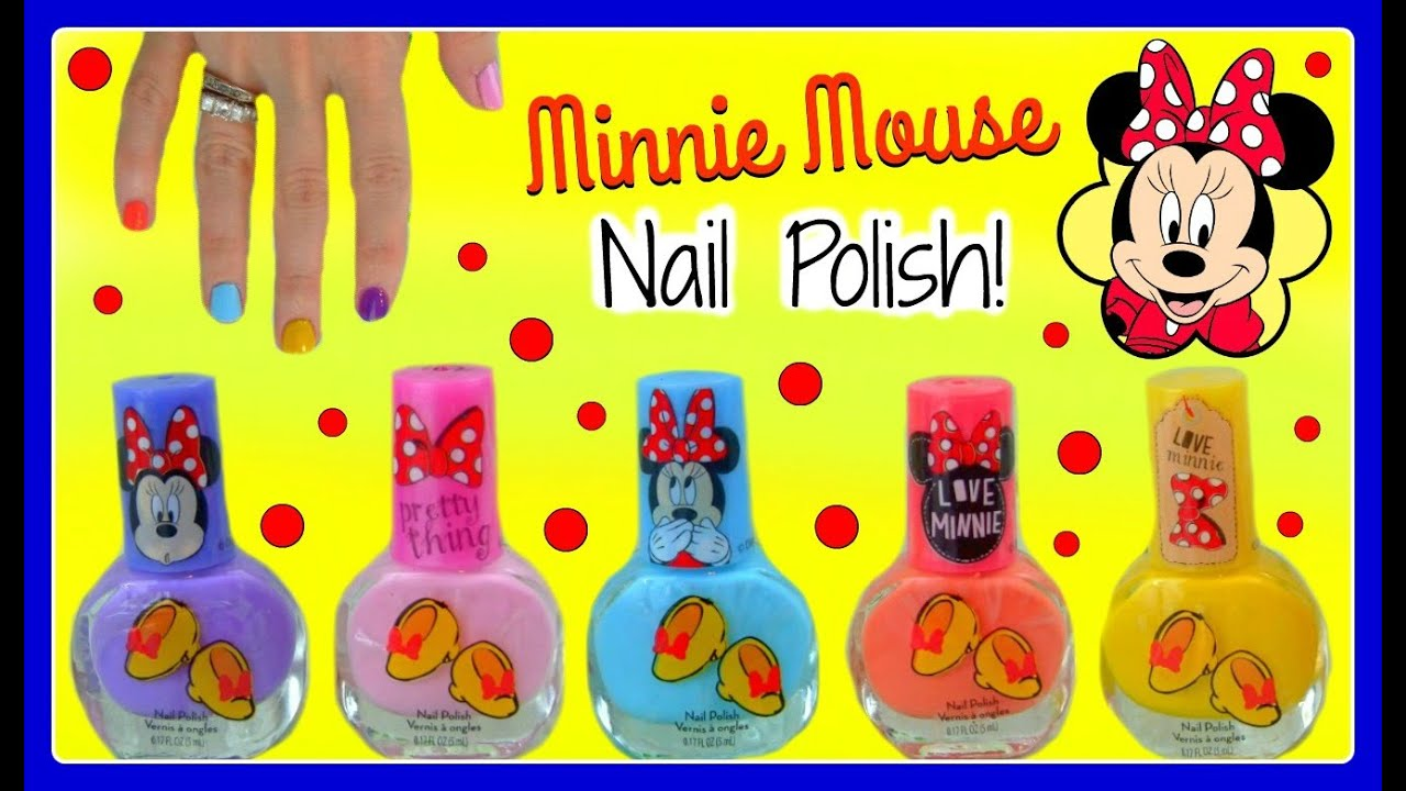 Minnie Mouse Nail Polish Set! Let\'s PAINT OUR NAILS with CUTE BRIGHT ...