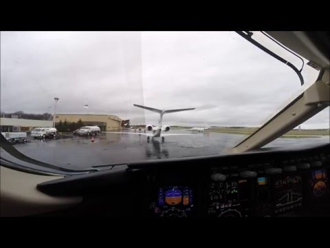 Bombardier Challenger 300 Takeoff Northeast Philadelphia Airport KPNE Cockpit view