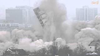 Sprengung des AfE Hochhaus in Frankfurt am Main