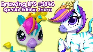 Littlest Pet Shop Art | Drawing LPS #3846 Zinnia Gardner Zebra + Free Coloring Page