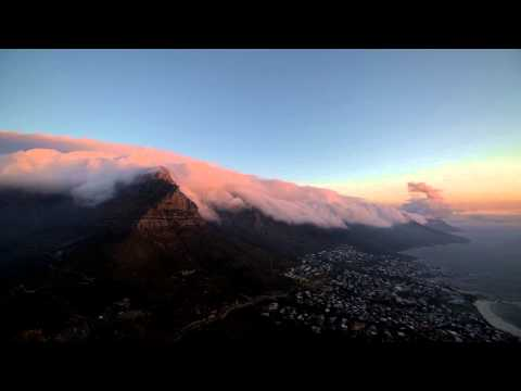 Timelapse of clouds streaming over the The Twelve Apostles, Table Mountain National park