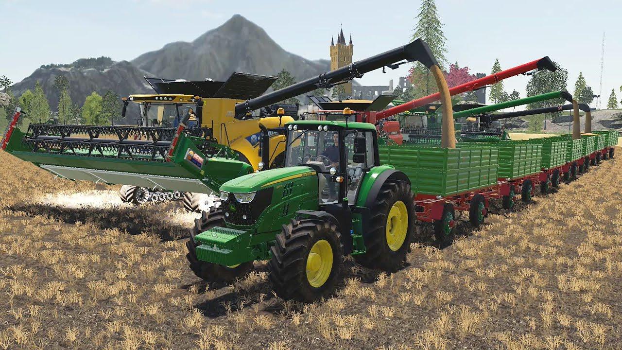 Tractor Traktor John Deere & Lots of Green Trailers | Strange Square Bales of Straw | Traktory LS19