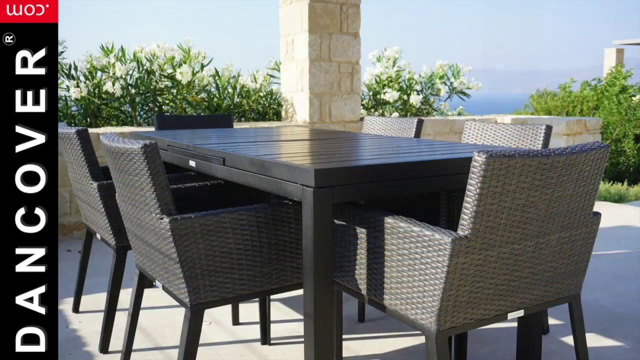 Gartenmobel Set Miami 1 Tisch 6 Stuhle Schwarz Grau