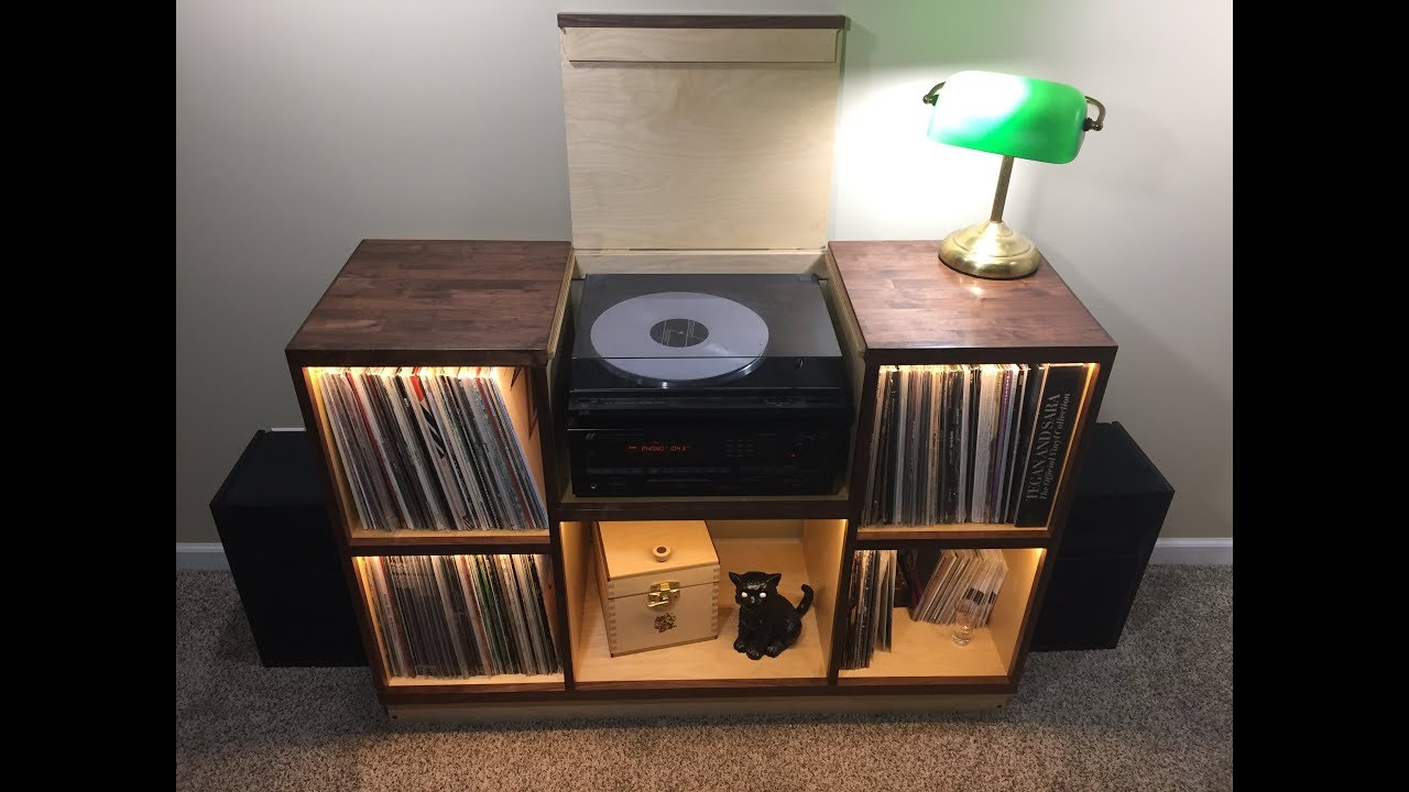 Record Player Cabinet Walnut Amp Birch Diy Build Youtube