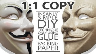 1:1 Low Tech Diy Duplication  of Guy Fawkes Mask or any other similar plastic Masks. Full How To