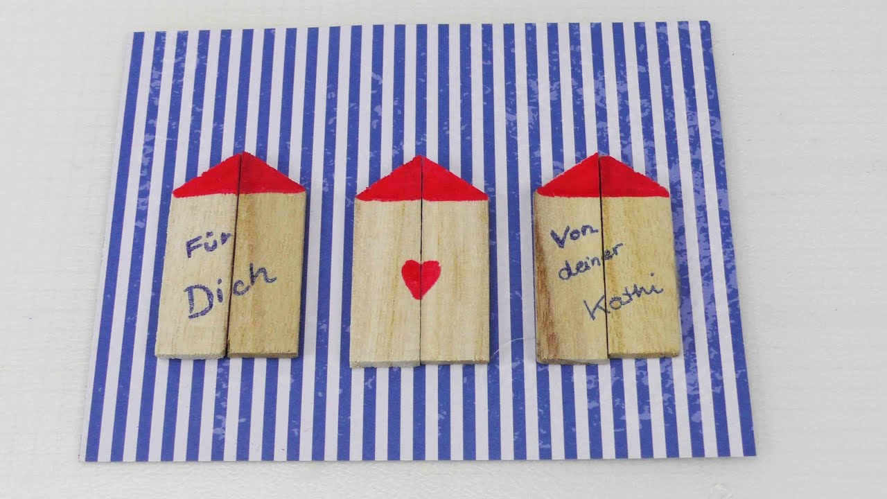 s e postkarte mit h usern selber machen postkarte selber gestalten mit holz urlaub youtube. Black Bedroom Furniture Sets. Home Design Ideas