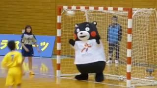 くまモンハンドボールに挑戦〜ナイスセーブ!