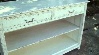 Large Vintage Painted Shabby Chic Cupboard Shelf Unit Sideboard
