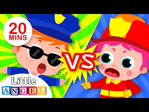 Policemen vs. Firemen! Head, Shoulders, Knees and Toes | + More Nursery Rhymes | Little Angel
