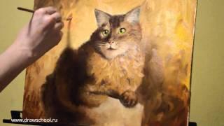 Как нарисовать кота красками. Пошаговый видео-урок по рисованию(Хотите нарисовать шикарного рыжего кота красками? Тогда наш урок вам поможет вам в этом. Всего за 2 часа..., 2016-03-09T13:37:33.000Z)