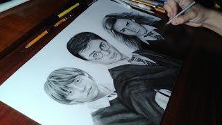 Drawing Harry Potter,Ron Weasley and Hermione Granger