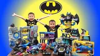 BATMAN TOYS COLLECTION Part #1 | Imaginext Batman Robot & Batcaves | Lucas & Ryan | LRH & Toyz