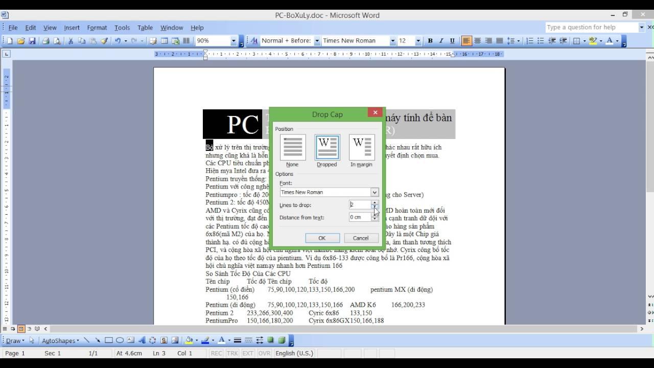 Hướng dẫn đặt tiêu đề, tạo bảng, căn lề cho đoạn, tô nền trong microsoft word