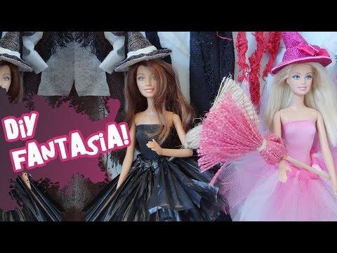 Como fazer Fantasia de Bruxa(o) sem costura para Barbie e outras Bonecas