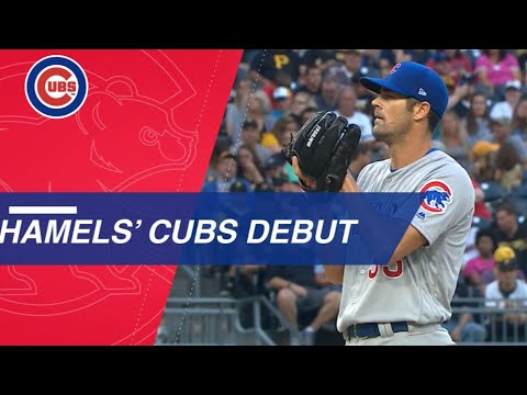 Hamels K's 9, gets a hit in victorious Cubs debut