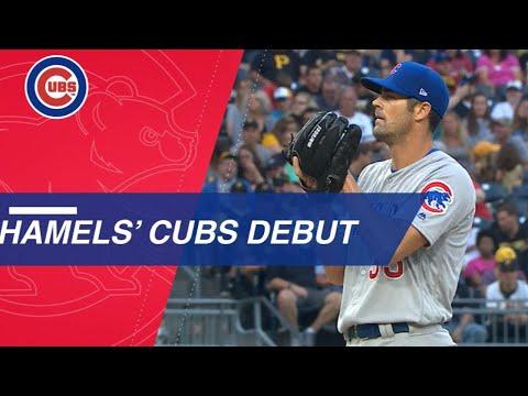 Hamels K's 9, gets a hit in victorious Cubs debut
