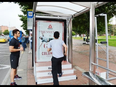 Reebok pop-up gyms at Bogotá and Cali bus shelters | JCDecaux Colombia