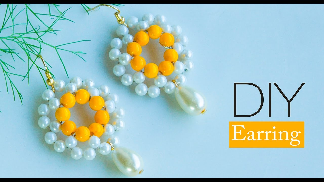 How to make pearl earring | make fast and easy | DIY Pearl jewelry ...