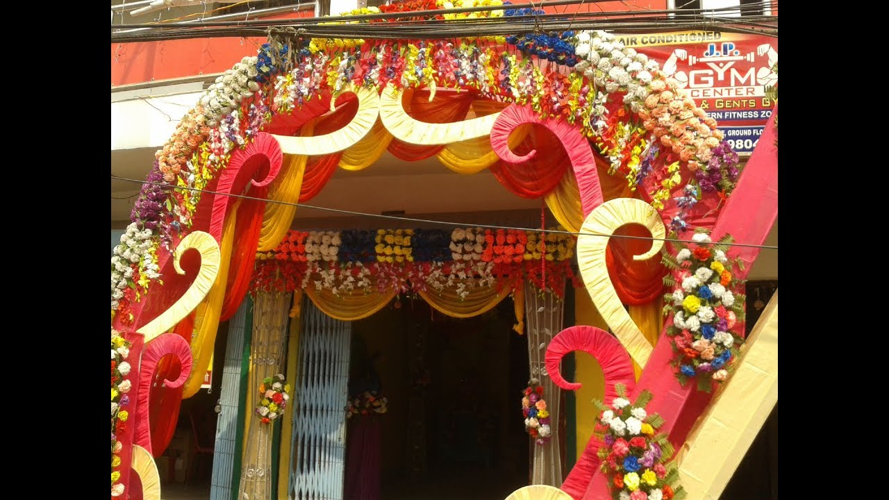 amazing welcome gate decoration with multicolored artificial flowers
