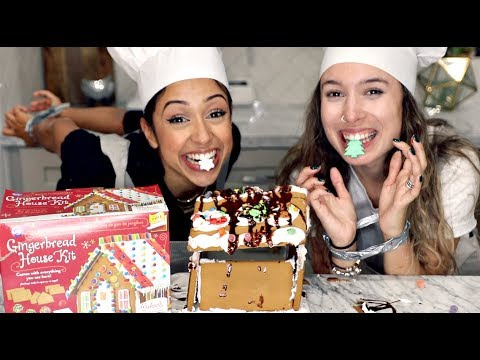 GINGERBREAD HOUSE WITH NO HANDS CHALLENGE!!