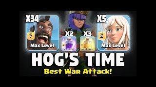 34 Hogs + Queen Walk = Hog's Time Best War Attacks | TH11 3 Star Attacks Clash of Clans