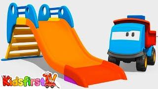 Kids 3d Construction Cartoons 11: Leo Paints A Slide (грузовичок Лева/트럭 레프)