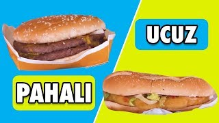 En Ucuz VS. En Pahalı Hamburgerler - Burger King, McDonald's, Carl's Jr.