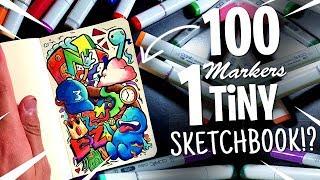100 MARKER CHALLENGE but in a TINY sketchbook ?!?!
