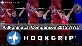 Karina Goricheva, Tima Turieva, Deng Wei (63) - snatch comparison @ 2015 Worlds