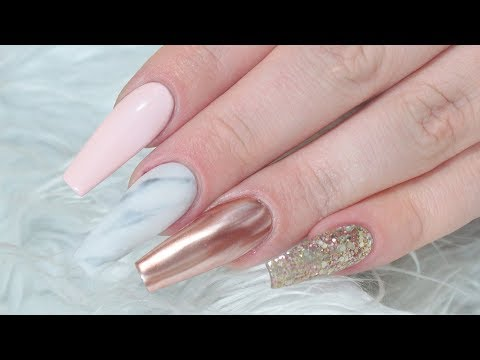 ROSE GOLD MARBLE ACRYLIC NAIL TUTORIAL