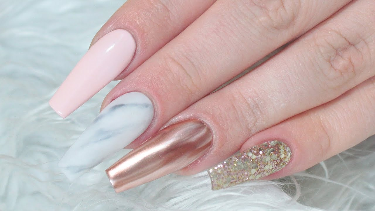 rose gold marble acrylic nail tutorial