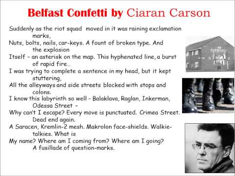 Belfast Confetti read by Ciaran Carson (AQA Conflict Anthology)