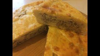 Пирог с рыбными консервами и рисом из заливного теста \\ Простой и вкусный пирог с сайрой