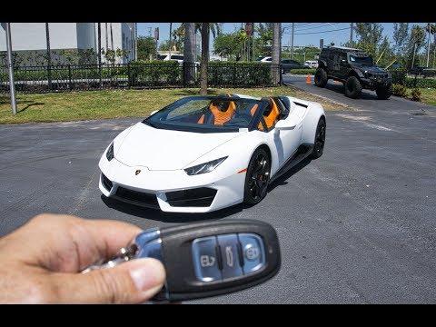 Lamborghini Huracan Spyder RIDE LOUD Accelerations Downshifts Interior Exterior at Lamborghini Miami