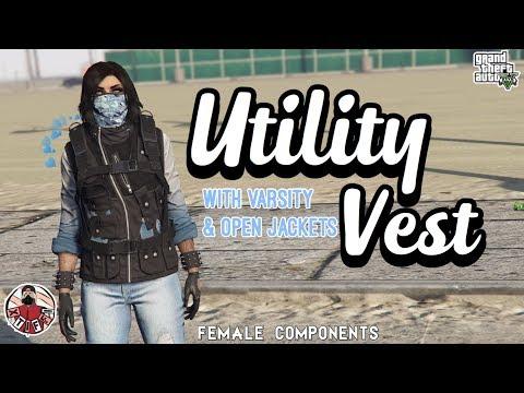 GTA5   Female Components: Utility Vest with Varsity Jackets (+any open jacket)